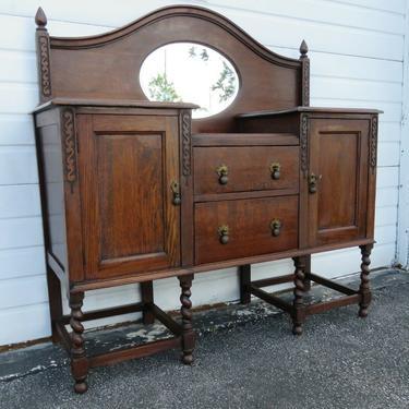 Early 1900s Carved Oak Server Sideboard Buffet Bathroom Vanity 1234