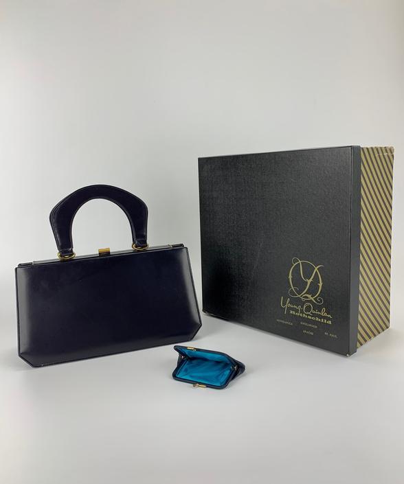 1950s-60's  Top Handle Leather Handbag - Dark Navy Leather - Luxury Vintage Goods - Excellent Condition by GabrielasVintage