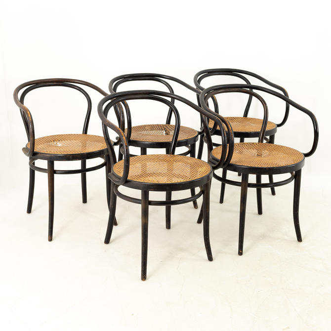 Thonet Stendig Bentwood Mid Century Cane Dining Chairs - Set of 5 by ModernHill