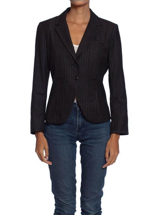 2000S Kenzo Grey Wool Patchwork Pinstripe Fitted Blazer by SHOPMORPHEW