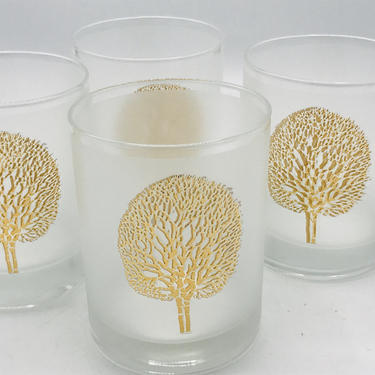 Vintage set of four Glass Frosted Glasses  Gold Embossed Tree Whiskey Rocks Glass Tumbler by JoAnntiques