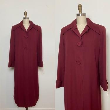 Vintage 1940s Coat 40s Gabardine Burgundy Winter Full Length by littlestarsvintage
