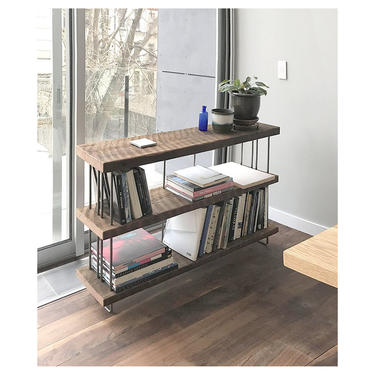 CUSTOM RESERVED for Susan - reclaimed wood console - our original - deposit for 3 shelves - from salvaged old growth fir and recycled steel by birdloft