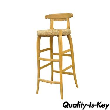 Garcia Imports Spain Modernist Rustic Primitive Wooden Rush Seat Bar Stool Chair