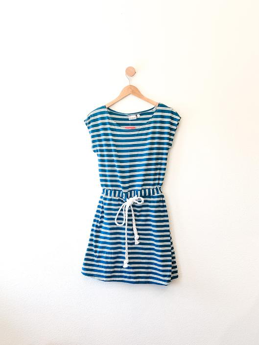 Melody Dress in Organic Teal Stripes