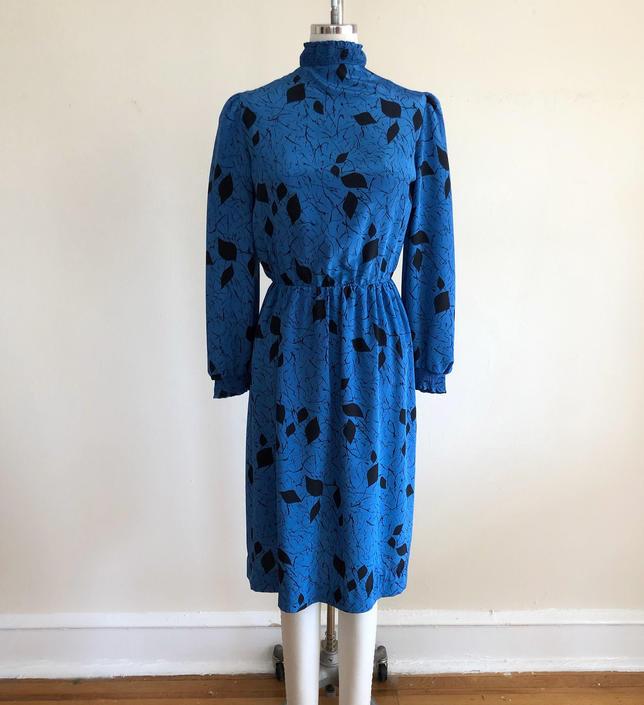 Bright Blue and Black Geometric Print Secretary Dress - 1980s by LogansClothing