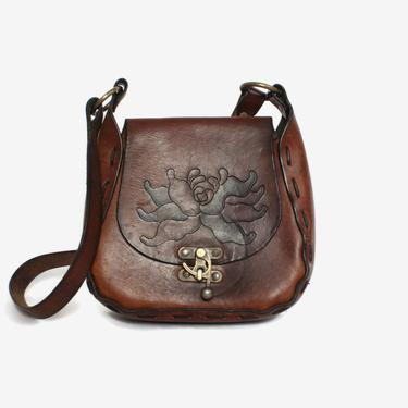Vintage 70s Hippie PURSE / 1970s Tooled Floral Boho Leather Shoulder BAG by luckyvintageseattle
