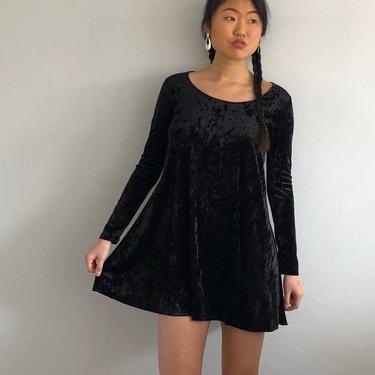 90s crushed velvet mini dress / vintage black stretch crushed velvet long sleeve scoop neck mini trapeze swing dress   S by RecapVintageStudio