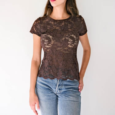 Vintage 90s Christian Dior Chocolate Brown Floral Lace Fitted Stretch Top | Made in USA | Cropped Scalloped Hem | 1990s Dior Designer Blouse by TheVault1969