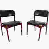 6 Teak Dining Chairs Erik Buch Danish Modern  OD Mobler Model 49 Black Leather by HearthsideHome