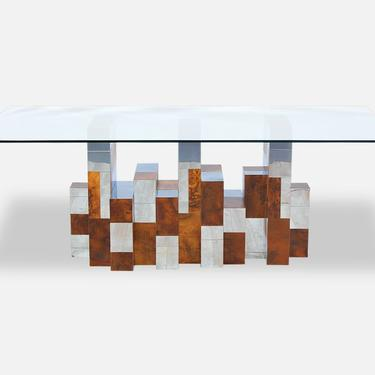 """Paul Evans """"Cityscape"""" Burl Wood & Chrome Dining Table for Directional"""