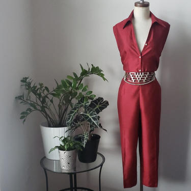 Vintage Sag Harbor 2 Piece Silky Satin Playsuit| Sleeveless Top and Cropped Pant Set| Size L/XL by LoveOnceAgain