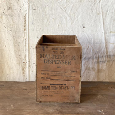 Antique Hamilton Beach Malted Milk Dispenser Wood Crate by NorthGroveAntiques