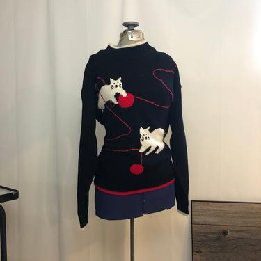 Crazy Cat Lady Ugly sweater 1980s vintage black white M by RadioRadioVintage