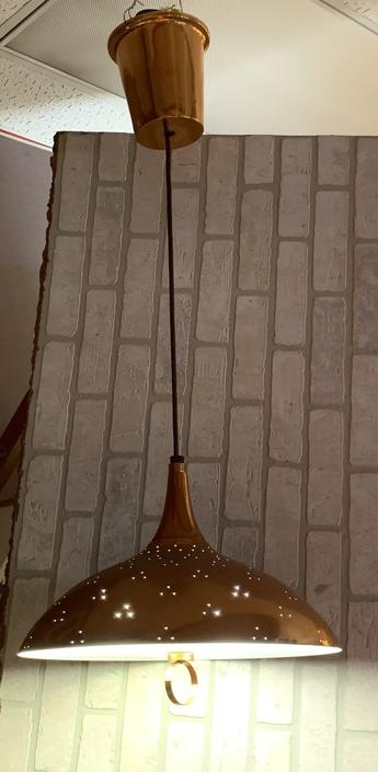Mid Century Modern Atomic Pull Down Copper Flying Saucer Pendant Lamp