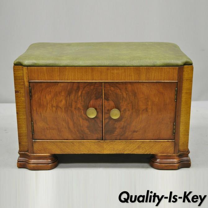 Antique Art Deco Green Vinyl Seat Vanity Bench Storage Cabinet