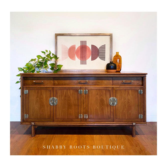 Vintage Mid Century Modern Buffet Credenza sideboard Cabinet 1960s walnut and burl and brass - San Francisco CA by ShabbyRootsBoutique