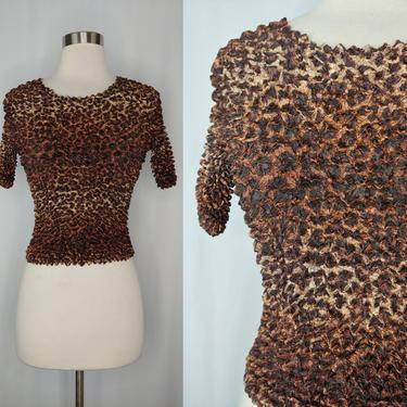 Vintage Y2K 2000 Leopard Print Short Sleeve Stretch Bubble Top - New with Tag No Boundaries Juniors One Size by JanetandJaneVintage