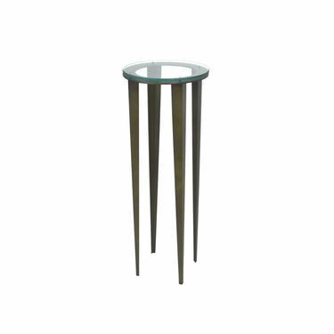 Modern Industrial Steel Sculpture Stand Pedestal Round Glass Top Tapered Legs by PrairielandArt