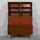 2-Piece Danish Modern Teak Secretary / Display / Locking Cabinet