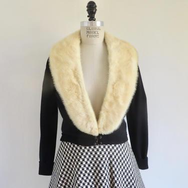 Vintage 1950's Black Lambswool Cardigan Sweater with Cream Mink Collar Juan de Cireta Los Angeles Small Medium by seekcollect