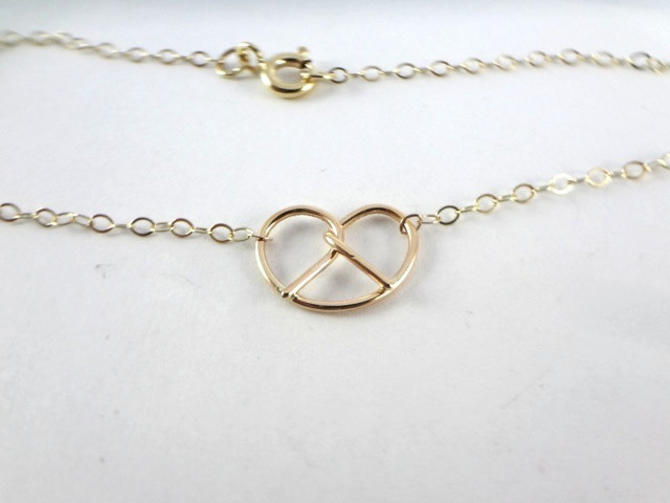 14K Gold pretzel necklace Gold love knot necklace Gold necklace, Philly love, Philly wedding, Philadelphia by SarahCecelia