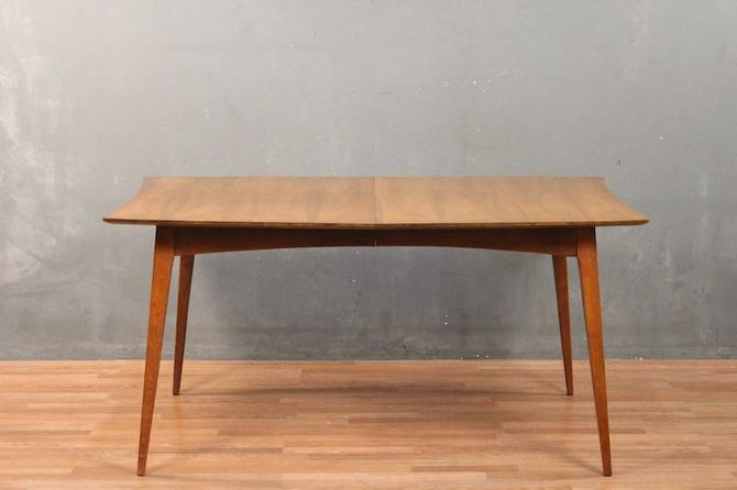 Mid Century Jaunty Walnut Dining Table with Leaf