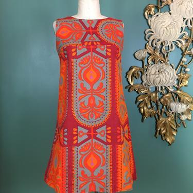 1960s sheath, vintage 60s dress, mod dress, sleeveless tunic, barkcloth dress, abstract print, red and orange, size small, a line dress, 34 by BlackLabelVintageWA