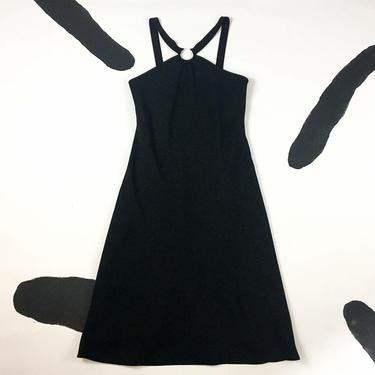 90s Black Strappy Midi Dress with Curved Barbell Piercing Detail / y2k / Cyber / Goth / Club Kid / Minimal / Punk / Cut Out / Silver / by badatpettingcats