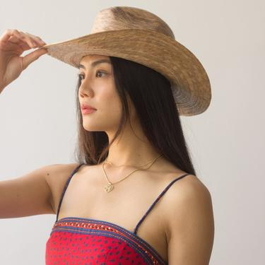 1990s Palm Straw Cowboy Hat by waywardcollection
