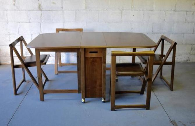 Mid Century Modern Walnut Hideaway Dining Set