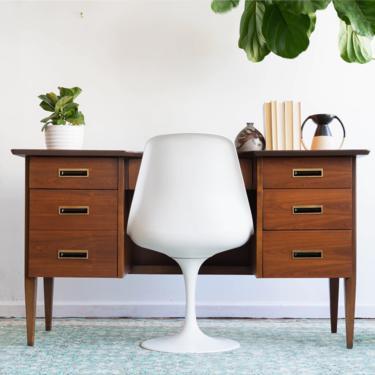 Vintage MCM Walnut Executive Desk by blinkmodern