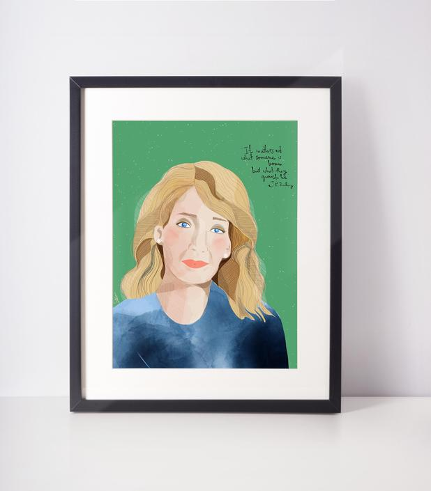 JKRowling  Inspirational women Art Print Portrait ready to frame for Home office and Cubicle Decor -Fan Art by VioletredStudio