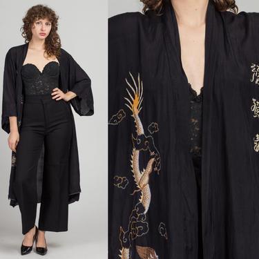 Vintage Chinese Black Silk Embroidered Dragon Robe - One Size   70s Boho Long Kimono Jacket by FlyingAppleVintage