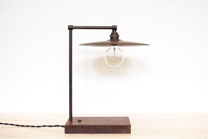 TH Desk Lamp Walnut and Blackened Brass LED Light by dylangrey