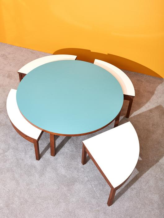 Round Laminate Coffee Table and Benches