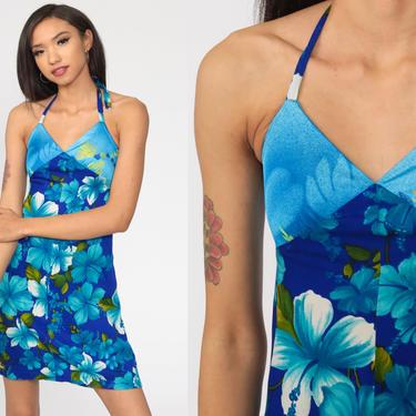Halter Neck Dress Blue Floral Print 70s Mini Dress Tropical Empire Waist Summer Boho Hawaiian 1970s Hippie Backless Bohemian Extra Small xs by ShopExile
