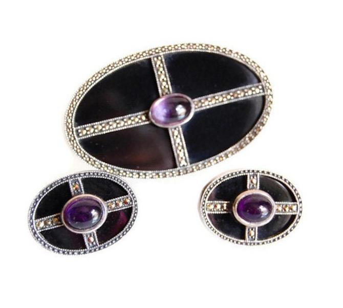 Judith Jack Art Deco Style Brooch & Earrings Set Amethyst Onyx Sterling Original Design Vintage Jewelry Accessories Collectibles Gift or Her by Curiopolis