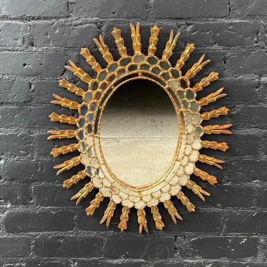 1950s Italian Giltwood & Glass Wall Mirror with Gold Leaf by VintageSupplyLA