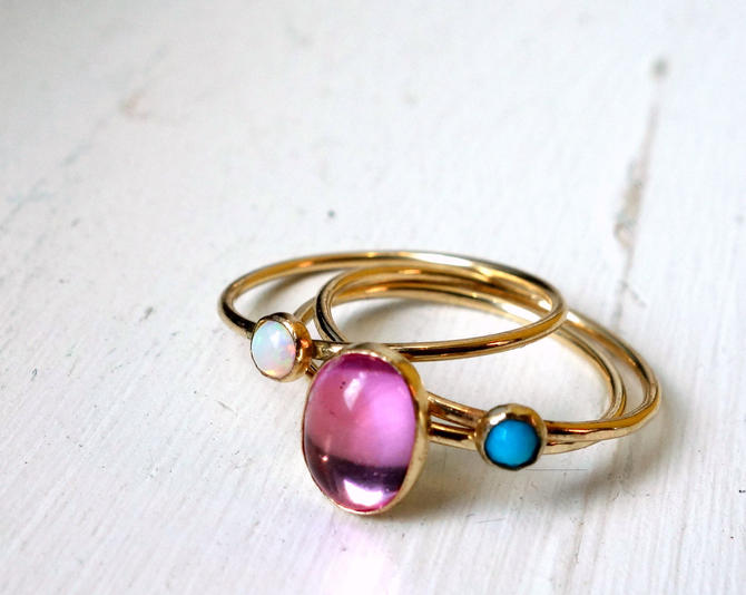 Stacking Trio Set- 14k GoldFill with Pink Sapphire, Opal and Turquoise Pink Blue and White Stacking Gemstone Ring Set by RachelPfefferDesigns