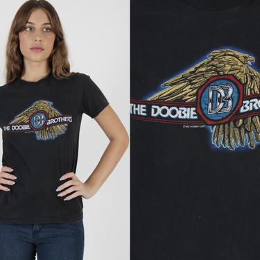 1982 Doobie Brothers T Shirt / 80s Farewell Tour Tee / Vintage Doobie Bros Black Cotton Single Stitch Concert Rock Band Shirt by americanarchive