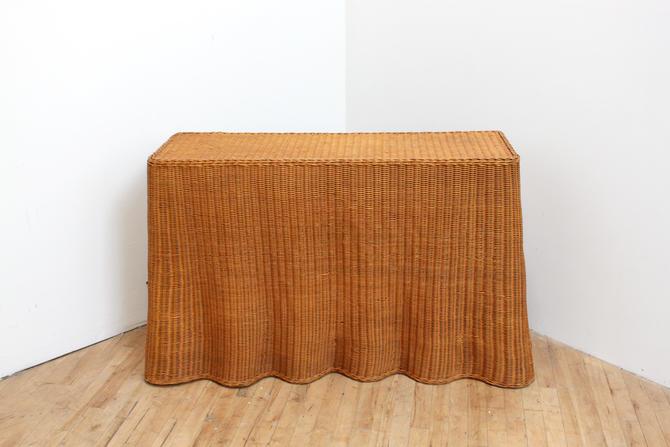 Wicker Console Table Draped Trompe l'Oeil by 330ModernAntique