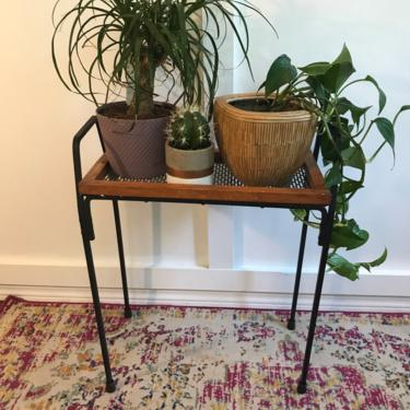 Wrought iron, Mesh and wood Plant stand Vintage Rack by VintageCoreReStore