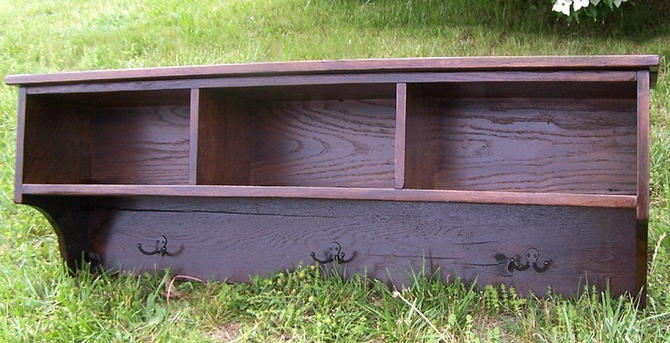 Reclaimed Oak Coat Rack Cubby Shelf for Entryway by BarnWoodFurniture