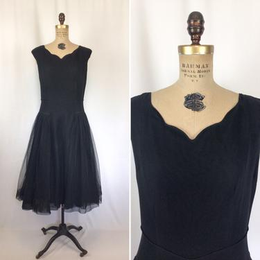 Vintage 50s dress   Vintage black chiffon fit and flare dress   1950s 20s inspired cocktail party dress by BeeandMason