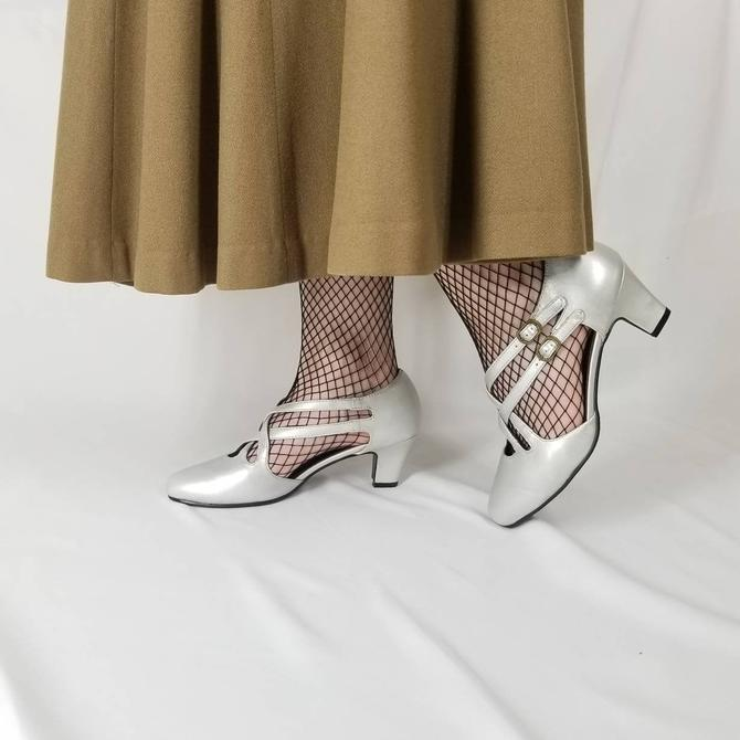 Vintage 90s Strappy Silver Heels 7.5 / Party Dress Shoes / Nonslip Dance Shoes / 40s Style Ballroom Shoes / Showgirl Burlesque Exotic Dancer by SoughtClothier