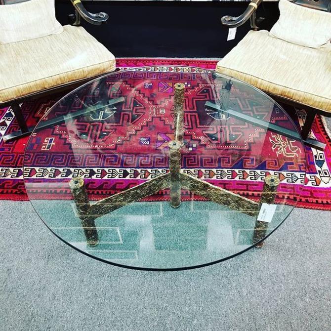 """Brutalist coffee table. 42"""" diameter, 17"""" high."""