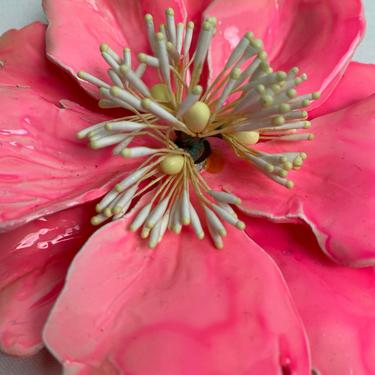 60's flower pin/ brooch~ huge floral statement piece~ flower power Mod MCM glossy 3-D by HattiesVintagePDX