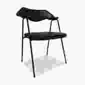 Black Vinyl Desk Chair by Robin Day