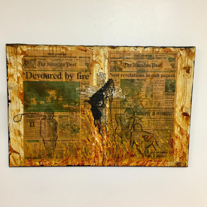 Newspaper and paint on canvas by Richard Roederer by PeachModern